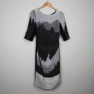 Tracy Reese Black and Grey Mountain Skyline Dress
